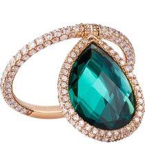18k rose gold large green quartz flip ring