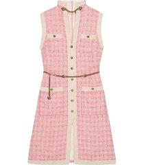 chain embellished tweed dress