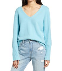 women's treasure & bond v-neck sweater, size x-large - blue