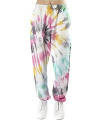aries hand dyed cotton jersey fleece trousers with tie-dye technique
