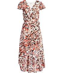 women's julia jordan animal print chiffon faux wrap dress