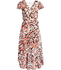 women's julia jordan animal print chiffon faux wrap dress