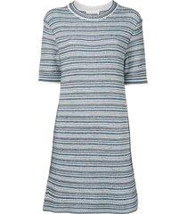 chloé striped woven short-sleeve dress - multicolour