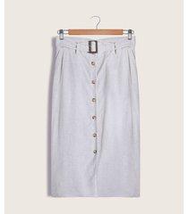 falda recta con hebilla unicolor