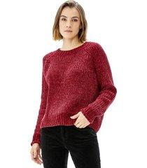 sweater crop chenille mujer burdeo corona