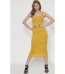 vestido unicolor sin manga amarillo 609seisceronueve