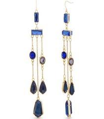catherine malandrino women's multicolored rhinestone yellow gold-tone chandelier-style earrings