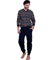 heren pyjama normann 90732-56-blauw