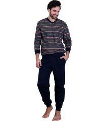 heren pyjama normann 90732-54-blauw
