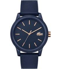 lacoste men's 12.12 blue rubber strap watch 42mm