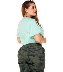 blusa plus verde menta con volantes en manga corta marca trucco's
