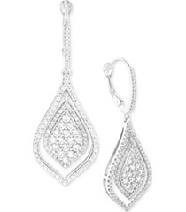 wrapped in love diamond teardrop-style drop earrings (1-1/2 ct. t.w.) in 14k white gold, created for macy's