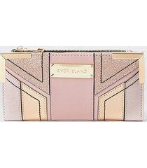 river island womens pink panel metal corner fold out purse