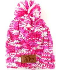 gorro de lana camuflaje rosa/blanco niba