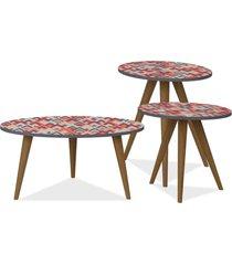 kit com mesa de centro e mesas laterais lyam decor retrã´ vermelho - vermelho - dafiti