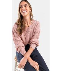 briella pointelle pullover sweater - blush