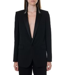 saint laurent black wool single breast jacket