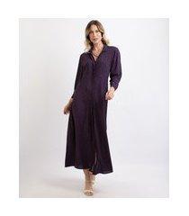 vestido chemise feminina midi estampado de poá manga 7/8 azul marinho
