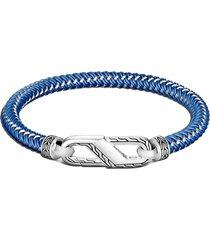 john hardy men's classic chain double woven rubber bracelet, size medium in blue at nordstrom