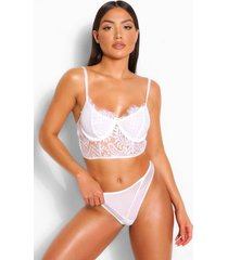 longline eyelash lace bralette and thong set, white