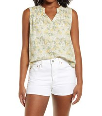 caslon(r) gathered a-line tank, size x-large in yellow- ivory floral camo at nordstrom