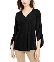 alfani petite tie-sleeve top, created for macy's