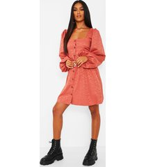 jaquard button down balloon sleeve skater dress, rose