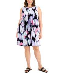 calvin klein plus size printed pleated dress