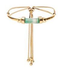 pulseira feminina ajustável ágata verde - dourado