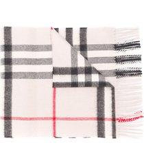 burberry cashmere check scarf - grey