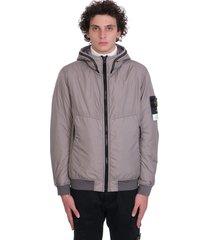 stone island casual jacket in grey polyamide