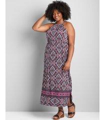 lane bryant women's sleeveless halter maxi dress 14/16 black/fuchsia
