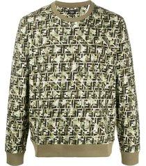 fendi camouflage ff print sweatshirt - green