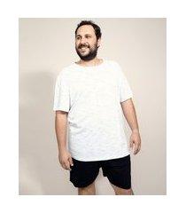 pijama de piquet masculino plus size manga curta branco