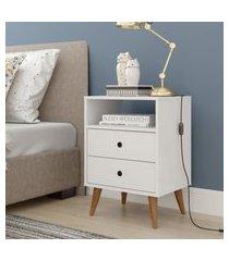 mesa de cabeceira retrô  domus - branco - rpm móveis
