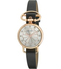 laura ashley ladies' black/rose gold heirloom watch