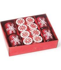 kit vela de natal decoração com porta vela 6x4 cm vermelha