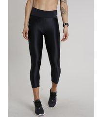 calça corsário feminina esportiva ace texturizada preta