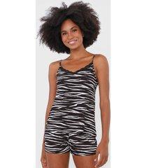 short-doll malwee liberta zebra preto/branco - preto - feminino - viscose - dafiti