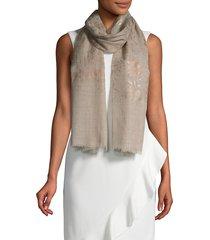 saachi women's floral fringe wool scarf - natural