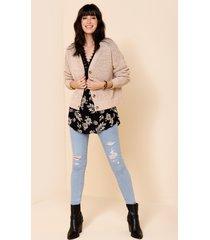 women's joss button front open stitch cardigan by francesca's - size: l