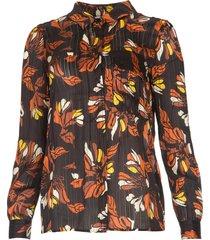 blouse met bloemenprint ava  zwart