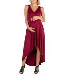 24seven comfort apparel sleeveless fit n flare high low maternity dress