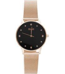 ibiza 3h orologio in acciaio rose gold con quadrante nero e strass per donna