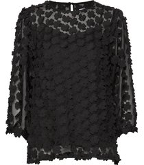 benita flower blouse lange mouwen zwart line of oslo
