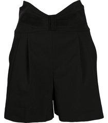 redvalentino tuxedo bow detail high-waisted shorts - black