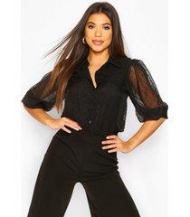dobby mesh puff sleeve shirt, black