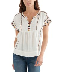 lucky brand embroidered short sleeve cotton blend peasant top, size large in cream at nordstrom