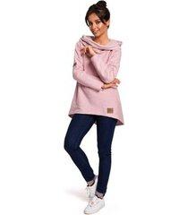 sweater be b131 pullover top met hoge kraag - poeder