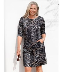 jurk miamoda grijs::bruin